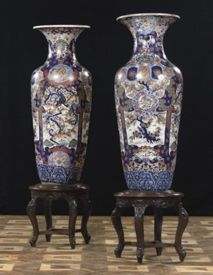 A pair of large Japanese Imari