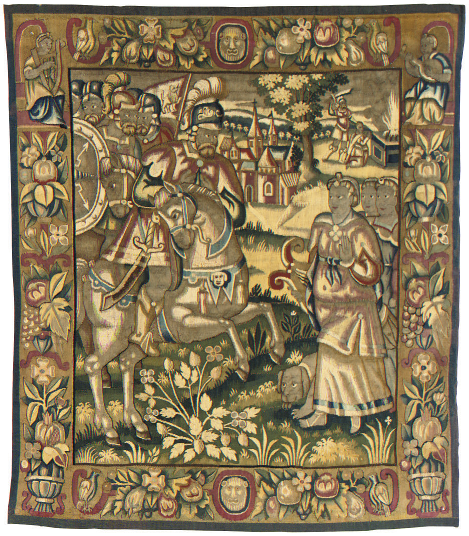 A NORTH GERMAN TAPESTRY CUSHIO