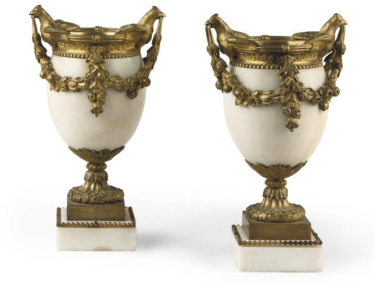 A PAIR OF ORMOLU-MOUNTED WHITE