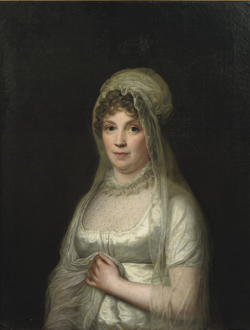 Portrait of a lady, said to be Lady von Binzer, half-length, in a white dress and a white headdress and veil