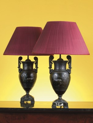 A PAIR OF FRENCH PATINATED MET