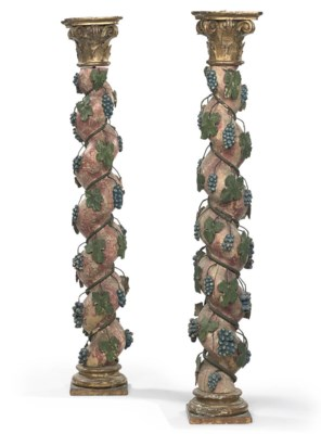A PAIR OF MARBLEISED AND PARCE