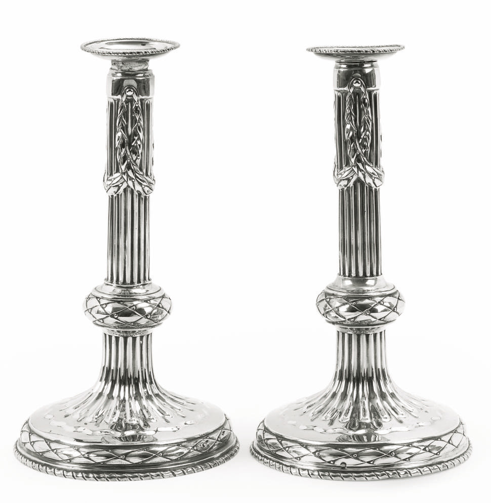 A PAIR OF BELGIAN SILVER CANDL