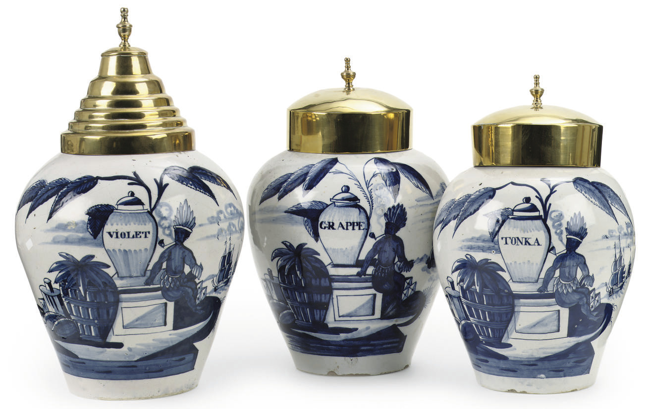 THREE DUTCH DELFT VOC TOBACCO