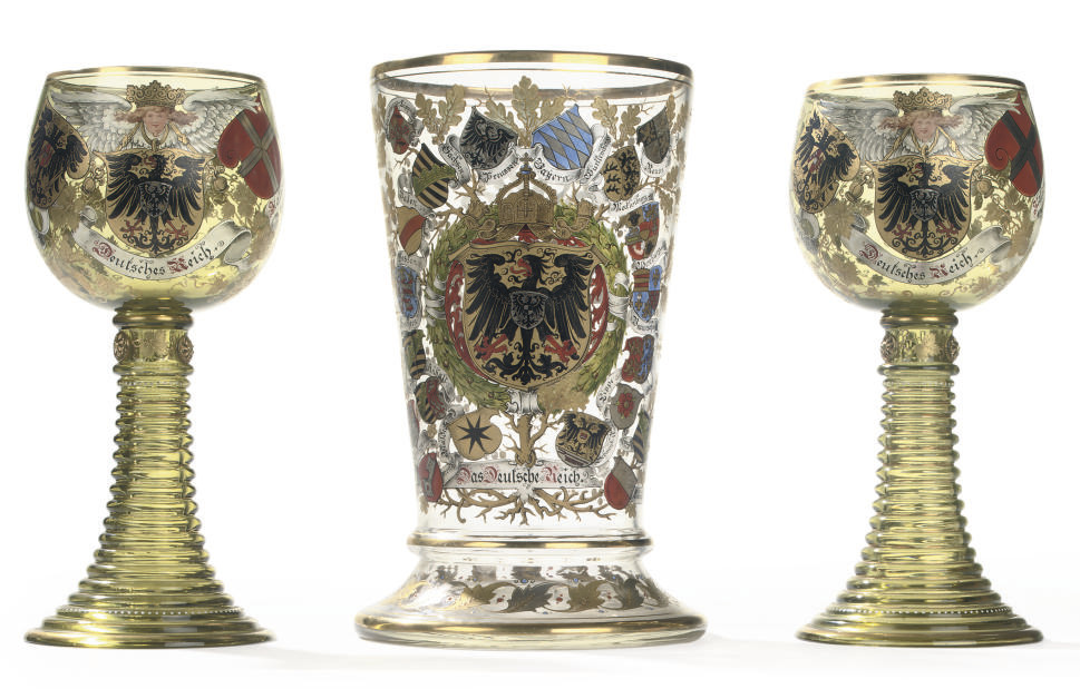 A PAIR OF GERMAN GREEN GLASS G