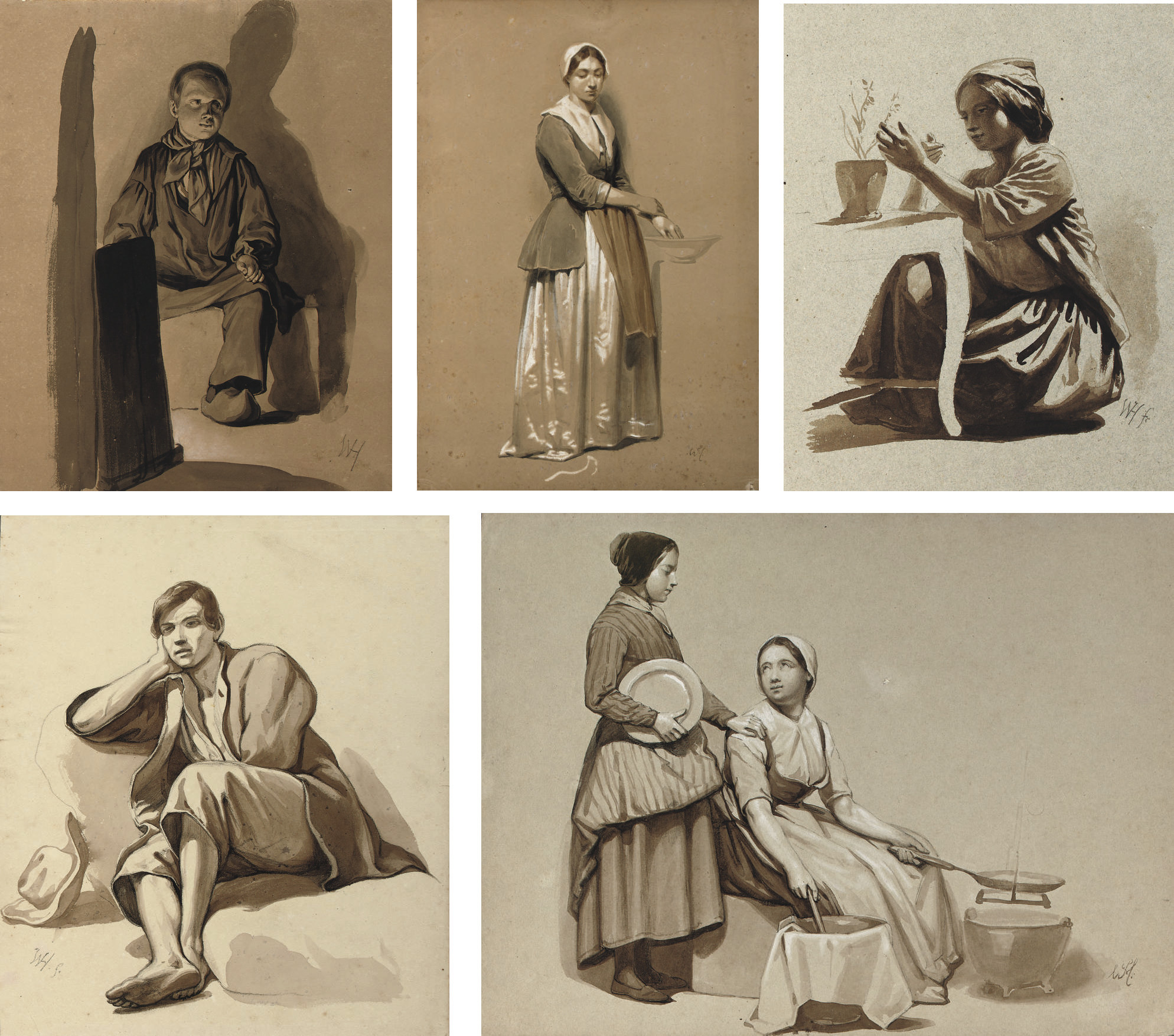 Studies of figures in various positions