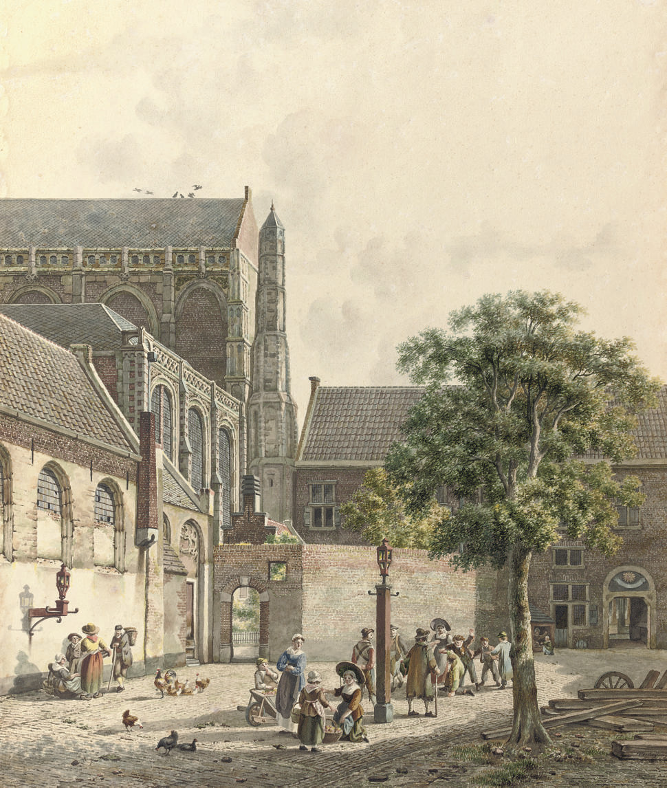 Figures on the Domplein with the Domkerk at the left, Utrecht