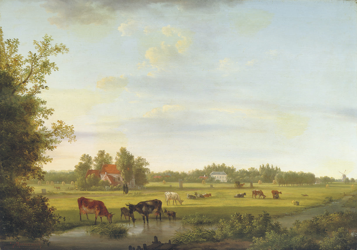 Animals in the pasture with a mansion beyond