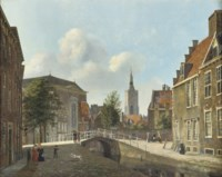 Daily activities along the Paviljoensgracht with the St. Jacobskerk in the distance, The Hague