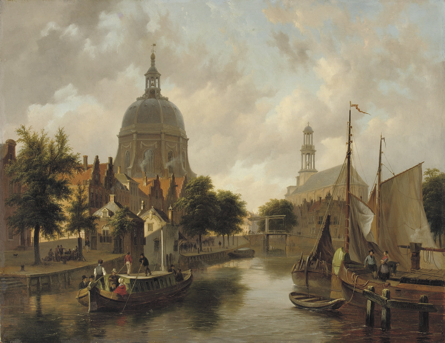 A capriccio view of Leiden, with the Marekerk and the Oude Singel