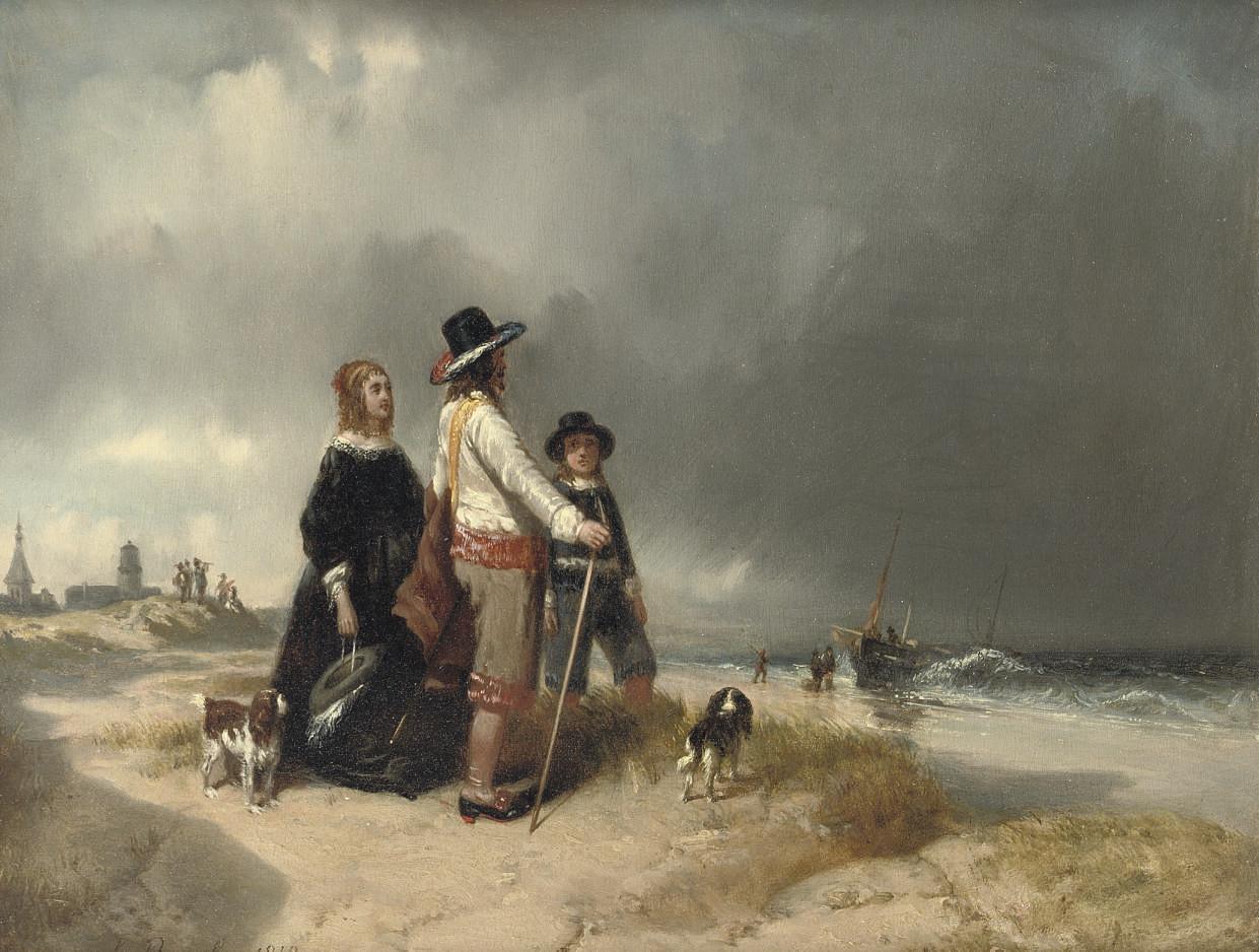 An elegant company on the beach of Scheveningen