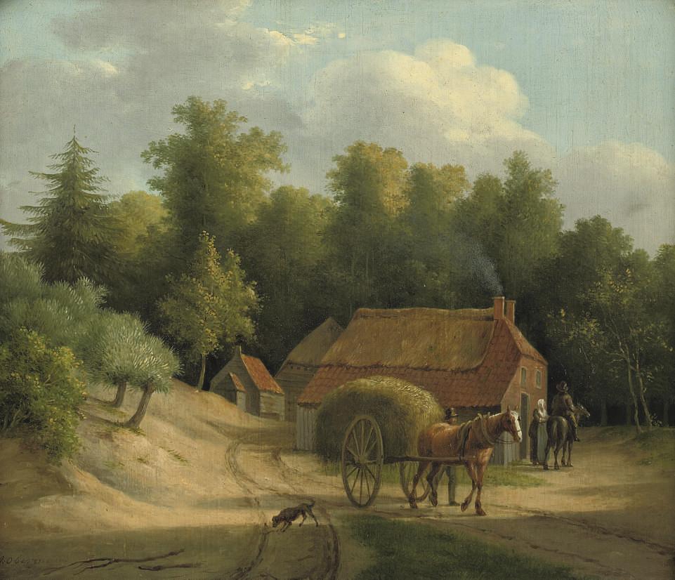 Haywain by a farm