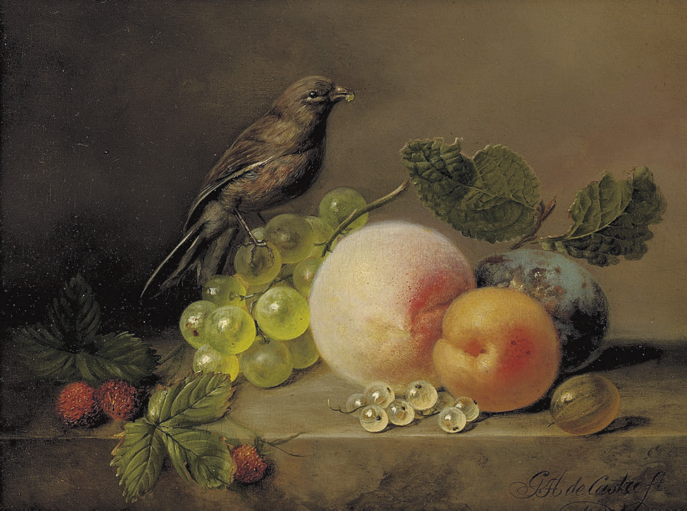 Peaches, grapes, raspberries and a sparrow on a marble ledge