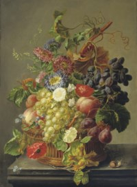 Summer fruit and flowers in a basket