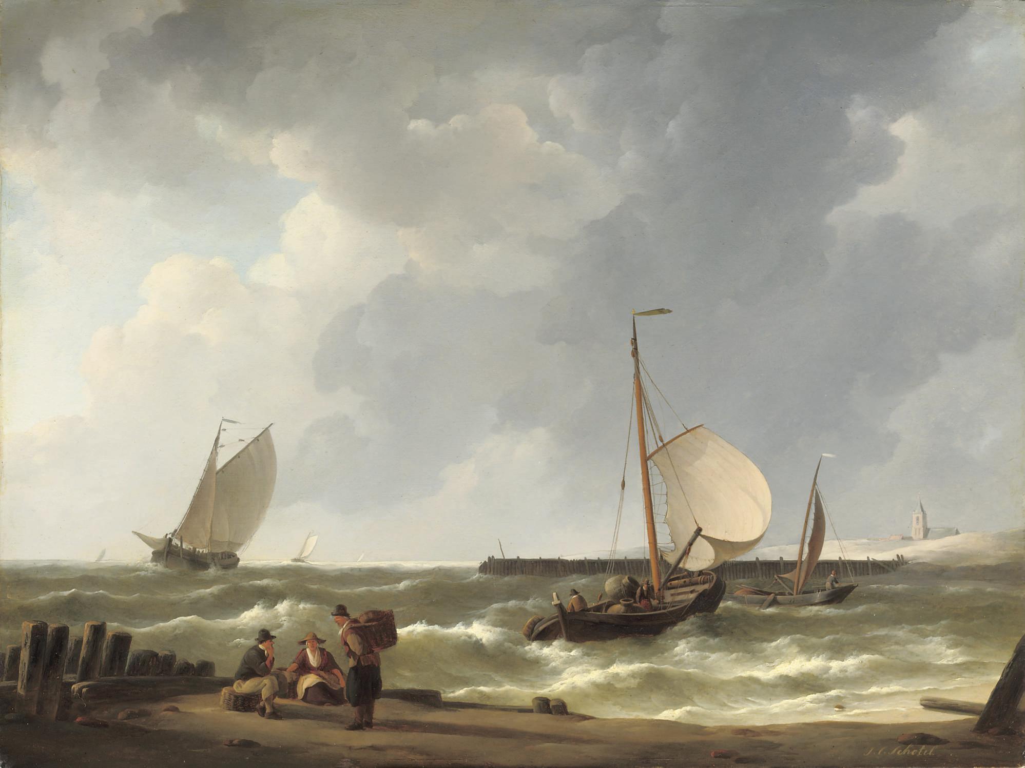 Woelende zee: sailing vessels approaching a shore