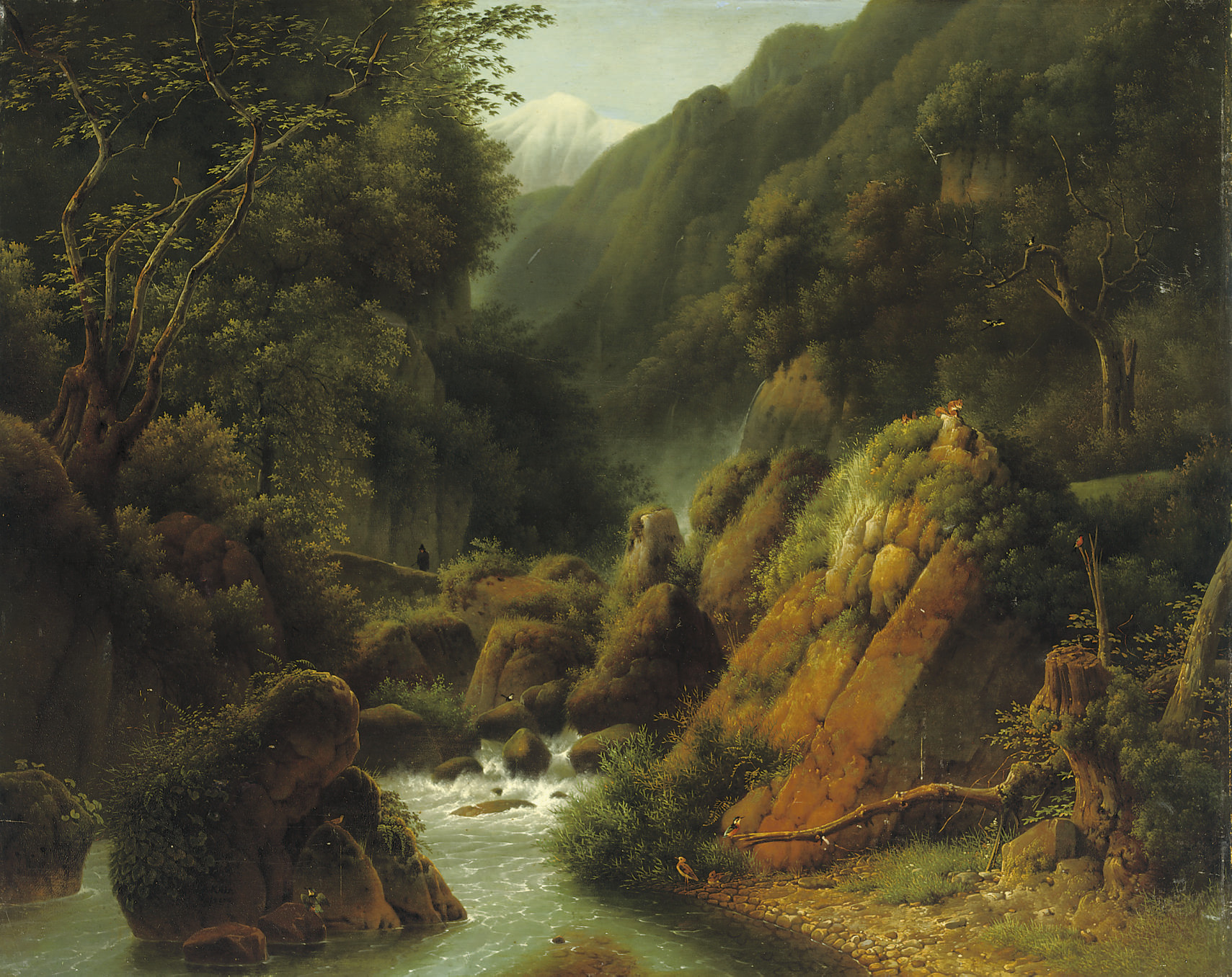 A traveller in a mountain gorge