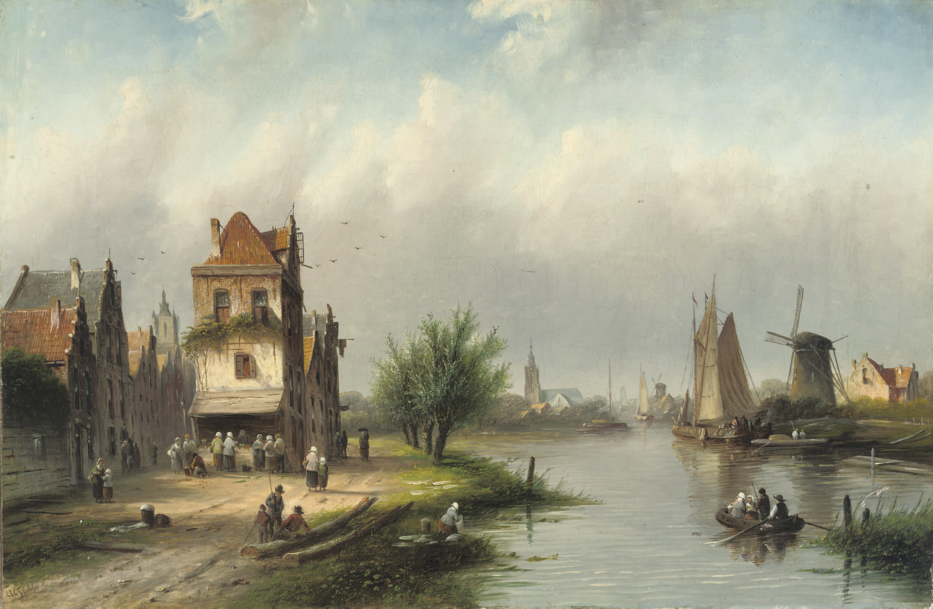 A riverside town in summer