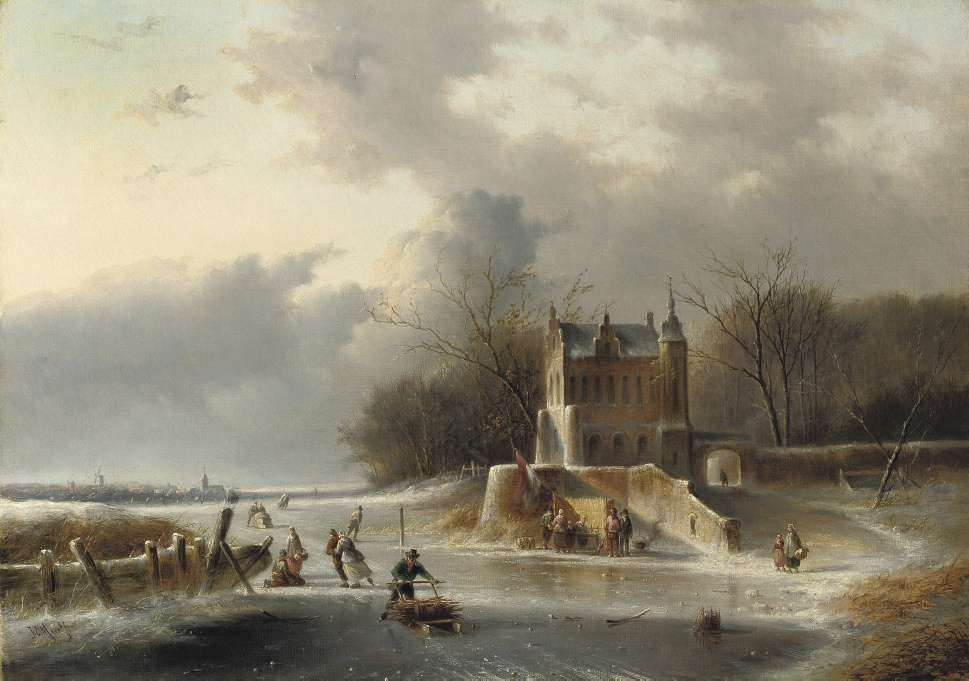 Winterfun on the ice by a mansion