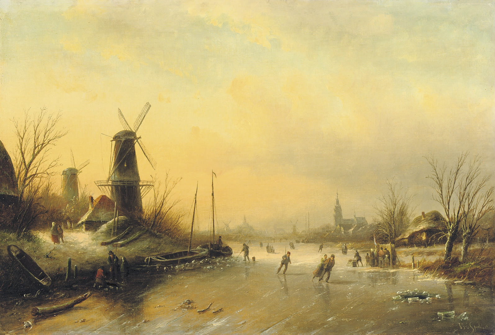 Skaters on the ice with a city beyond