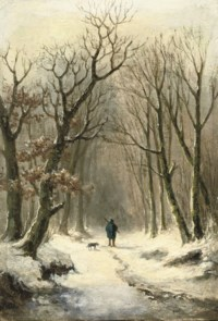 A hunter and his dog on a snow-covered path