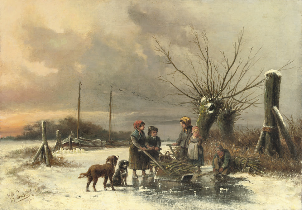 Children gathering firewood on the ice