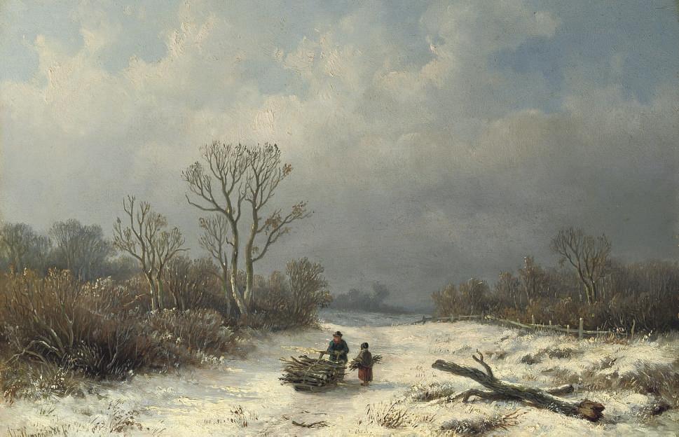 Faggot-gatherers on snowy path