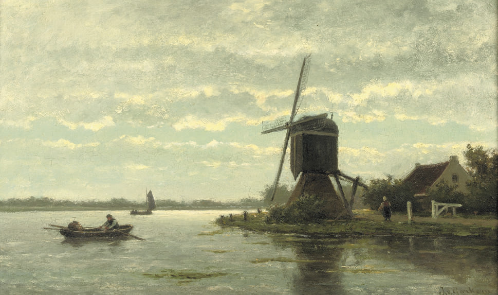 Rowing near a windmill