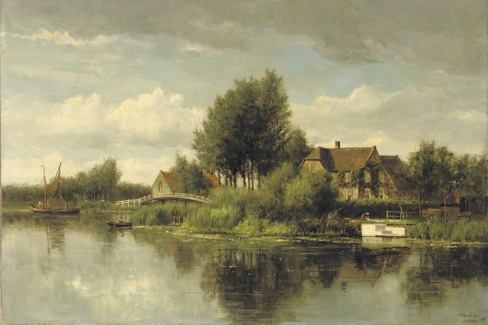 Mansions along a river in summer