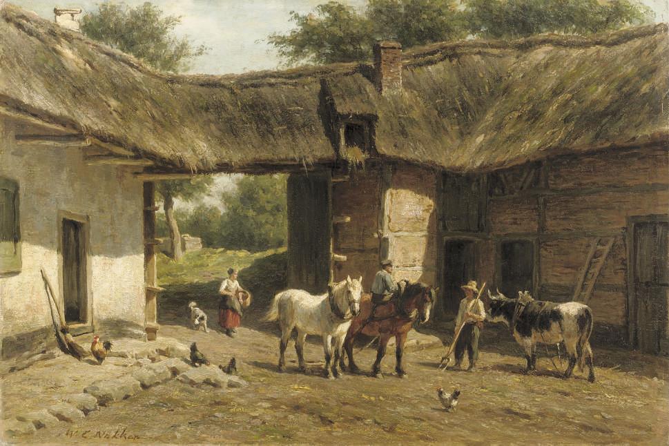 Working horses in a farmyard