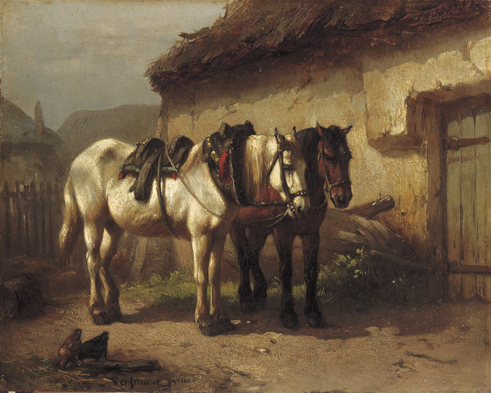 Working horses near the stable