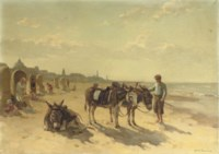 Donkeys on the beach of Scheveningen with the Kurhaus beyond