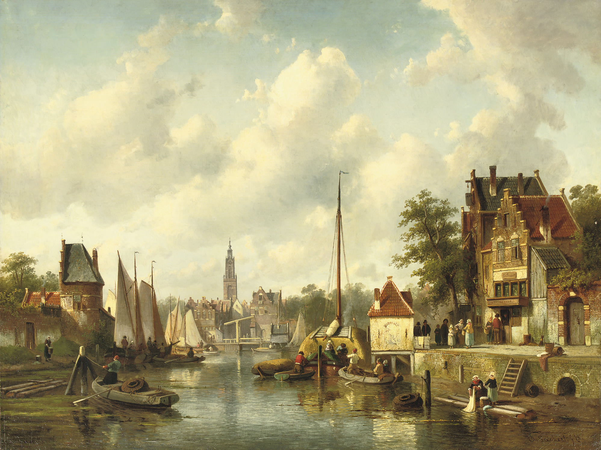 Activities on a busy canal in a sunlit Dutch town