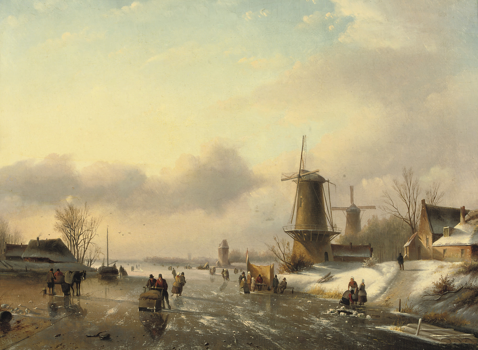Figures on the ice near a windmill