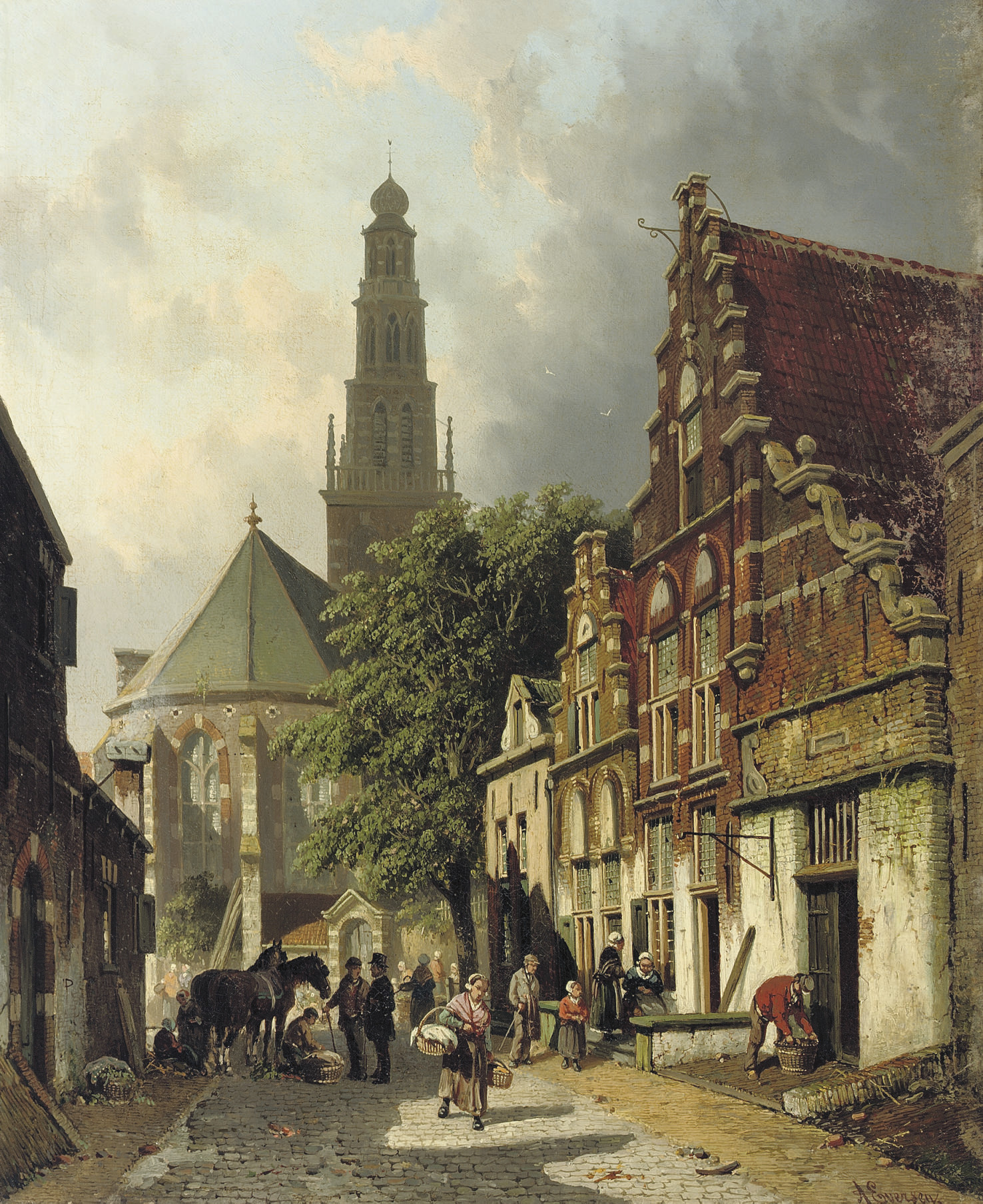 Townspeople in a sunlit street in Haarlem with the Waalse kerk beyond