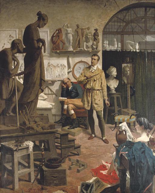 Canova in his studio
