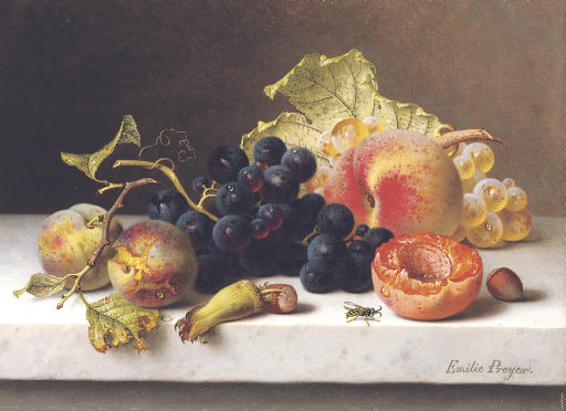 Grapes, peaches and plums on a marble ledge