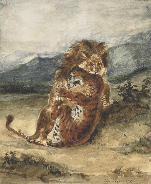 Combat d'un lion et d'un tigre