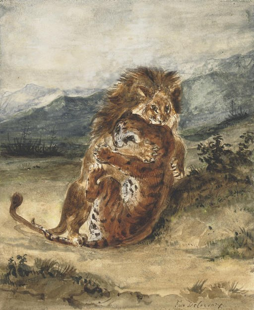 Eugène Delacroix (1798-1863), Combat dun lion et d'un tigre, circa 1856. Watercolour heightened with white on paper. 9⅞ x 8  in (25.1 x 20.3  cm). Sold for £311,700 on 23 January 2008 at Christie's in London