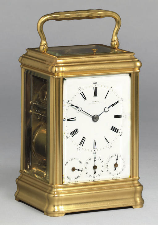 A French gilt-brass grande sonnerie eight day carriage clock with full calendar and alarm
