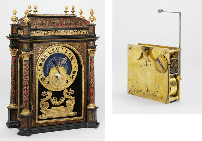 A rare Louis XIV boullework, ebony and ormolu striking and astronomical pendule religieuse