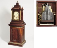 A Regency giant gilt-brass mounted mahogany quarter striking eight day turn-table musical organ clock