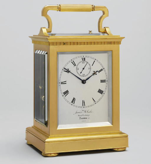 A Victorian giant gilt-brass striking and repeating carriage clock