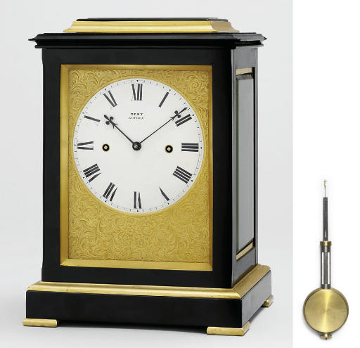 A Victorian ebonised and gilt-brass-mounted striking eight day five glass table clock