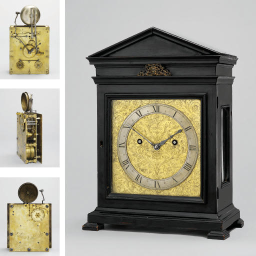 A Charles II ebony architectural quarter-striking eight day table clock