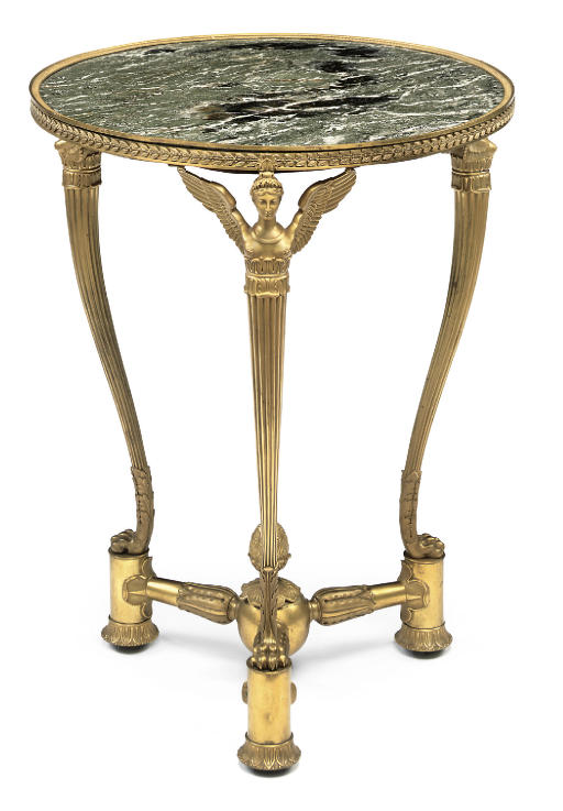 A FRENCH ORMOLU AND PATRICIA GREEN MARBLE GUERIDON