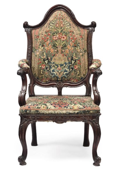 A DUTCH WALNUT ARMCHAIR
