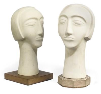 TWO PLASTER HEADS OF WOMEN