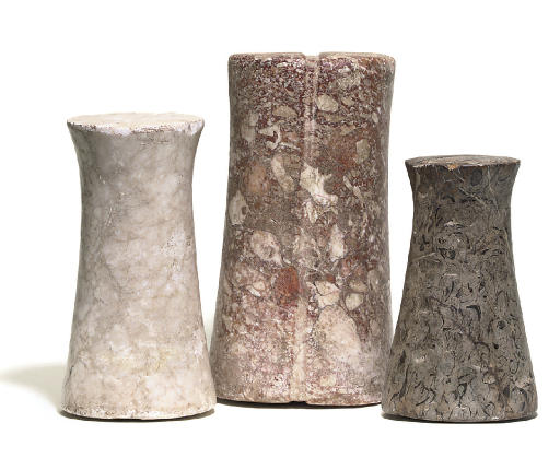 THREE BACTRIAN MARBLE CYLINDER