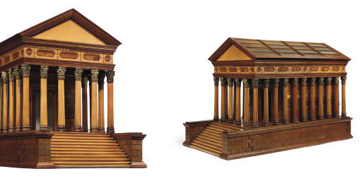 AN OAK, SATINBIRCH AND FRUITWOOD ARCHITECTURAL MODEL OF THE MAISON CARRÉE, NÎMES