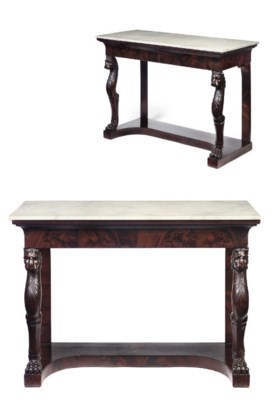 A PAIR OF RESTAURATION MARBLE-
